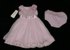 NWT Monsoon Baby Girls Lilac Tulle Overlay Satin Trim Floral Dress 3-6 M