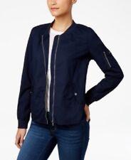 Style & Co Women's Size XLarge Deep Blue Zipper-embellished Bomber Jacket