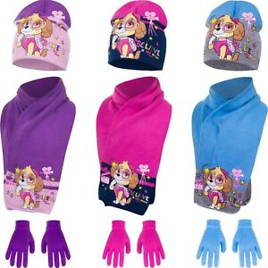 Official Paw Patrol Winter Hat Gloves and Scarf 3 Pcs Set Kids Age 2-13 Yrs