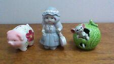 Vintage Miniature Apple, Pig, and Little Girl Figurines, Japan