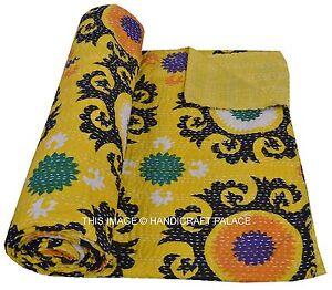 Indien Jaune Reine Set Coton Suzani Imprimé Couvre-Lit Couverture Décor