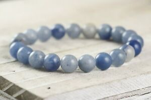 "Blue Aventurine 6mm 8mm or 10mm Round Gemstone Beaded Stretch Bracelet 6""-8.5"""