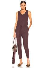 ENZA COSTA Sleeveless Drawcord Fleece Knit Jumpsuit Bordeaux Burgundy M 2 $198