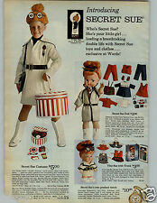 1966 PAPER AD 2 Pg Toy Secret Sue Agent Costume Doll Tiny Watch Pendant Trench