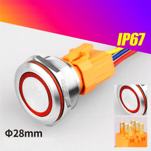 28mm RGB Tri-color LED ring illuminated Stainless steel Push Button switch ROHS