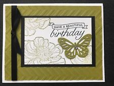 """Stampin Up Card Kit Set Of 4 """"Birthday"""" Olive Green Chevron Embossed"""
