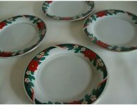 "Tienshan Fine China Deck The Halls Christmas Dessert Side Plates 7.5"" - SET OF 4"