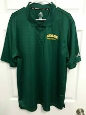 BAYLOR BEARS Basketball Men Green ClimaLite Short Sleeve Polo Shirt XL Adidas