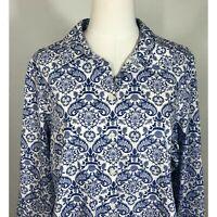 Chicos Size 3 Shirt Blue White Cotton Womens XL