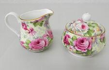 Allyn Nelson Collection Fine Bone China England Sugar & Creamer Set Rose Chintz