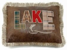 LAKE Pillow - Rustic - Jumping Fish - Lodge - Applique Letters - Free Shipping