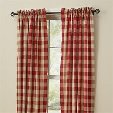 Country Garnet Red Wicklow Lined Panel Curtains 72Wx84L Buffalo Check Cotton