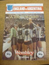 13/05/1980 England v Argentina [At Wembley] (Stained on Back). Footy Progs/Bobfr