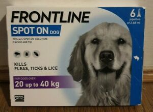 FRONTLINE Spot On Flea and Tick Treatment for Large Dogs 20-40kg 6 PIPETTES -
