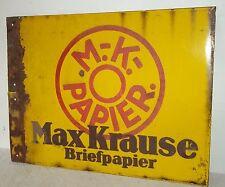 EmailleWerbeschild MAX KRAUSE Briefpapier Boos & Hahn Ortenberg Baden beidseitig