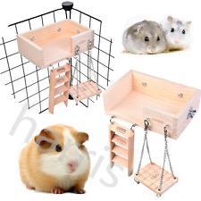 Wooden Mouse Hamster Crawling Ladder Bridge Shelf Swing Platform Fun Toys Set