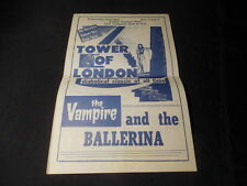 Vintage Buzzards Bay MA Movie Theater Handbill Tower of London Vampire Ballerina