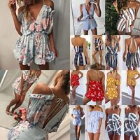 Fashion Women's Holiday Mini Playsuit Ladies Shorts Jumpsuit Summer Beach Dress.