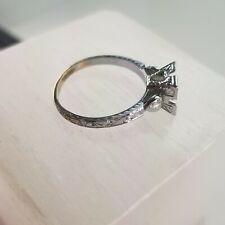 18k Gold Art Deco Fishtail Semi Mount For Diamond Engagement Ring