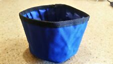 Fold up Travel Dog Canvas Bowl For food & Water Blue. Great for Travel