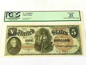 1880 $5 Legal Tender  -  Fr. 71 Graded PCGS 35 - Very Fine