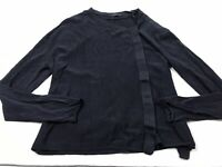 Cos Medium M Cotton Navy Blue Button Long Sleeve Top Shirt Knit