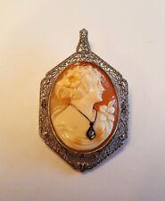 14K Victorian Filigree Cameo Diamond Necklace Pendant / Pin White Gold Lovely!