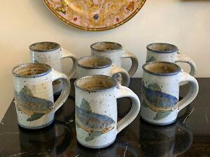 Impressive Vintage set of 7 Stoneware Mugs Signed by Artist