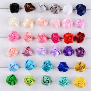 28 Color 20/50pcs Mini Satin Ribbon Rose Flower DIY Craft Wedding Appliques