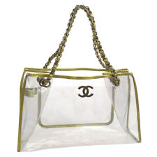Authentic CHANEL CC Chain Shoulder Bag Clear Gold Vinyl Leather Vintage V21943