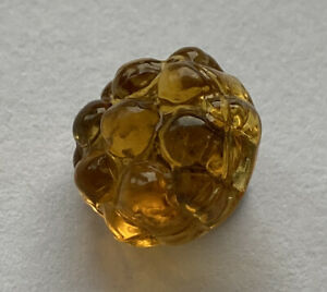 """Antique Vintage Molded Honey Amber Glass Charmstring Button 1/2"""""""