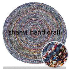 Braided Rag Rug Bohemian Handmade Round 90 CM Home Decor Floor Area Rugs Carpet