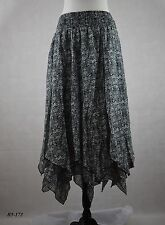 Style&Co.NWT Women's Printed Handkerchief-Hem Skirt Simple Scroll Size L
