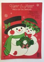 Vintage Hallmark Merry Snowman Press Out Christmas Decorations Book Unused