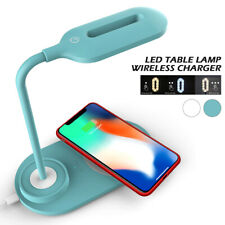 2 en 1 DEL Bureau Chevet Lecture Lampe De Table Lampe Qi Téléphone sans fil Rapide Chargeur