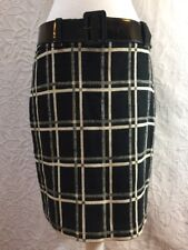 Ann Taylor Women's Skirt Belted Cotton Linen Blend Plaid Fully Lined Straight 8