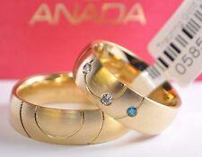 Marken Trauringe Gold 585 - mit Diamanten: 0,095ct. - Breite: 6,5mm - Längsmatt
