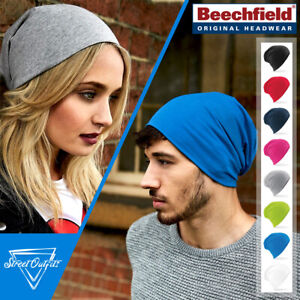 Slouch Beanie Hat Soft Cotton Sports Running Pull-On Headwear Mens Womens Ladies