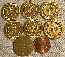 """Lot of 7 Gold Tone Metal Sew-through Buttons 7/8"""" 23mm #  8445"""