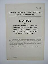 More details for vintage original lms notice drivers working express trains euston & glasgow 1937