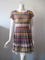 Weston Wear Anthropologie Flared Caraz Multi Color Mesh Dress S