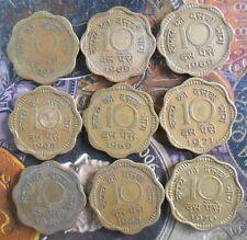 9 pcs MINT SET - 1968 1969 1970 1971 - 10 Paise Nickel Brass - india