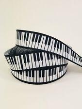 "BTY 7/8"" Piano Keys Grosgrain Ribbon Hair Bows Lanyards Lisa"