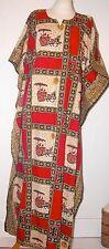 """Vintage coton orange/noir à motifs loose Thai Caftan/Robe 44"""" buste/Taille"""