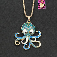 Betsey Johnson Enamel Crystal Cute Octopus Pendant Sweater Chain Necklace Gift