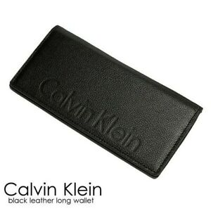 Calvin Klein Folio Logo Leather Long Black Men's Wallet w/Gift Box New