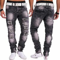Herren Jeans destroyed grau Jeansnet Denim Slim Fit zerrissen Used Look