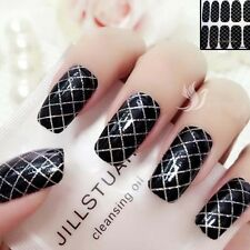 3D Black Sparkly Nail Art tips Sticker Decal Full Wraps Acrylic  #06020 Free P&P