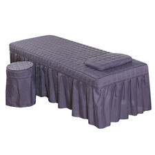 "Massage Table Skirt Sheet Pillowcase Stool Cover Beauty Linen 75x28"" Purple"