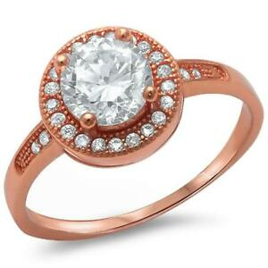 Halo Style Rose Gold Plated .925 Sterling Silver Ring